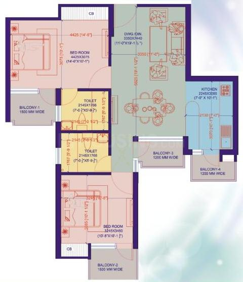 Lotus Celestia Floor Plan: 2 BHK Unit with Built up area of 1150 sq.ft 1