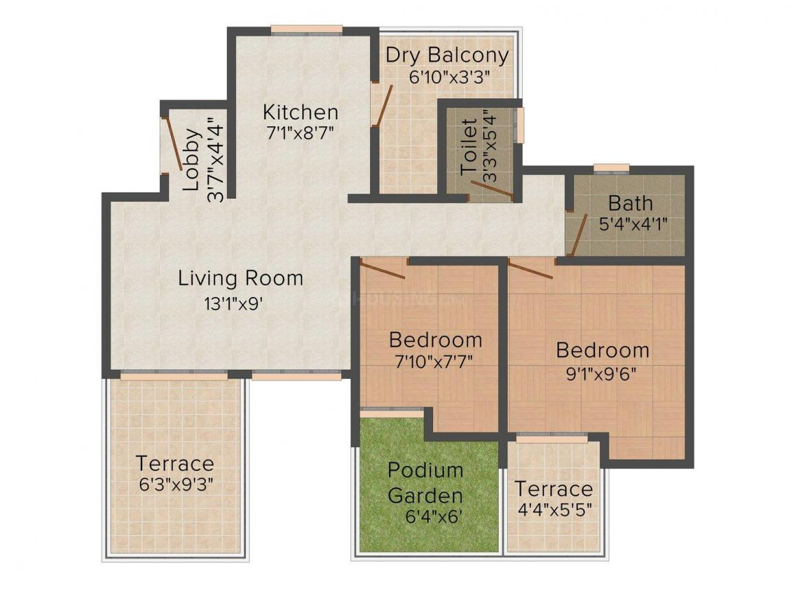 Floor Plan Image of 775.0 - 1032.0 Sq.ft 2 BHK Apartment for buy in Majestique Palm Atlantis