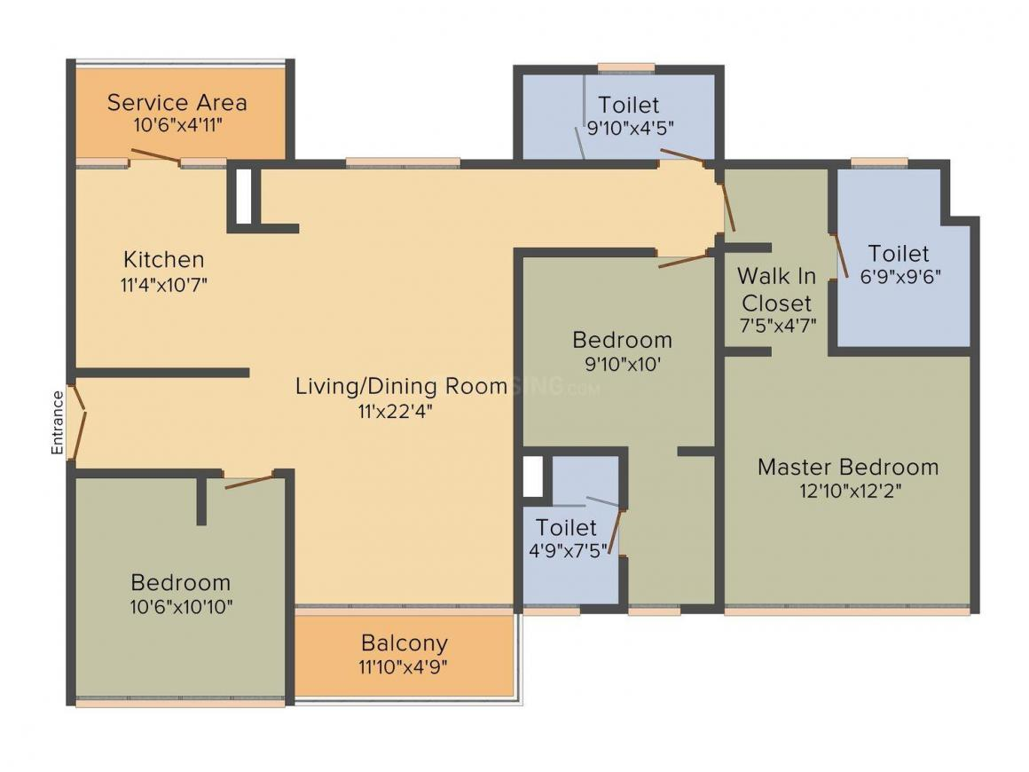 Aliens Space Station Floor Plan: 3 BHK Unit with Built up area of 1687 sq.ft 1