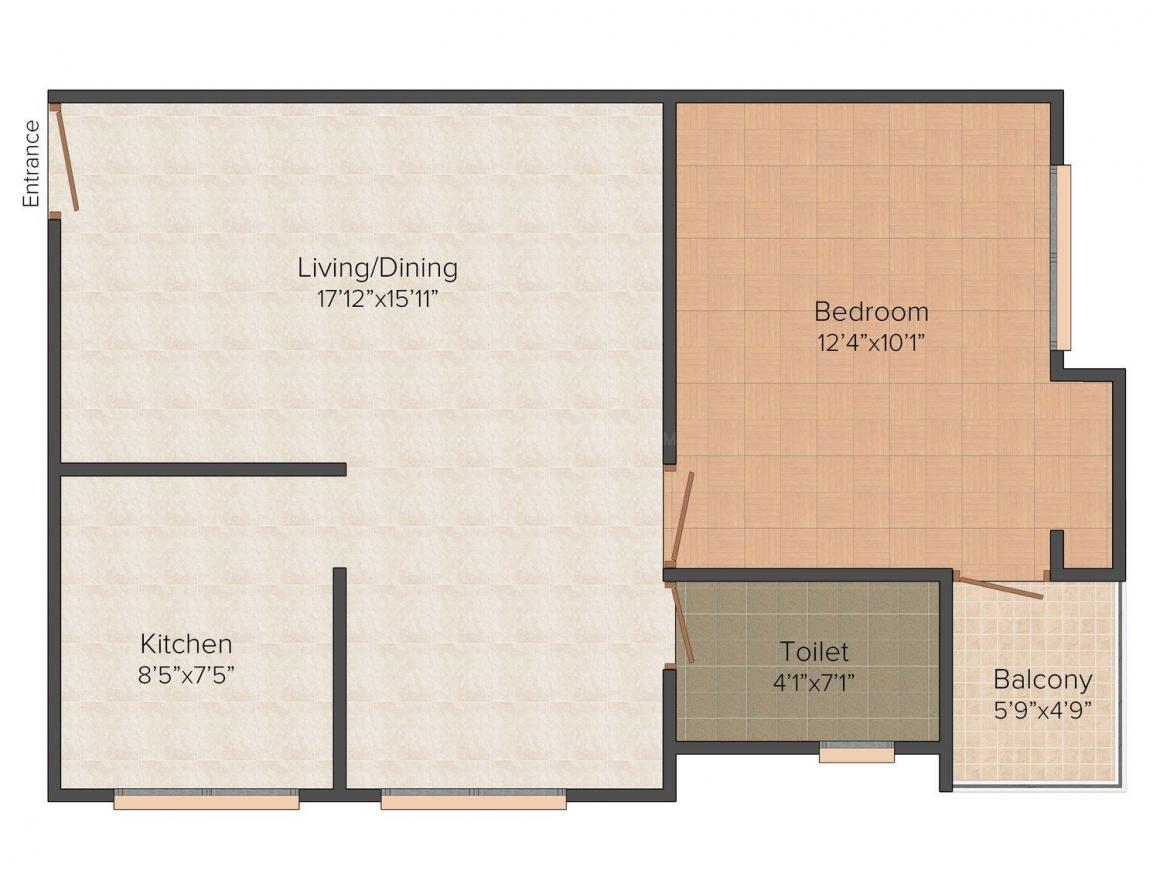 Floor Plan Image of 634.0 - 988.0 Sq.ft 1 BHK Apartment for buy in Navani Parijatham