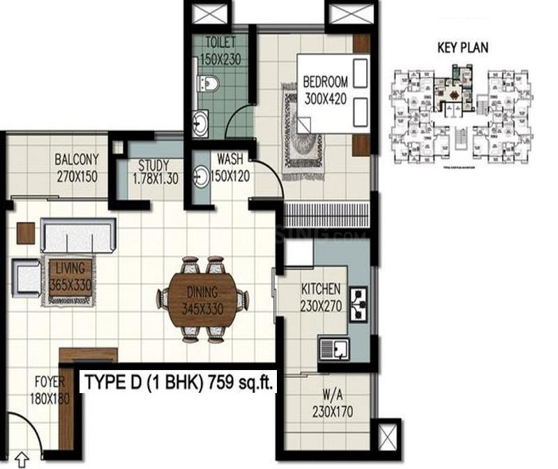 Queens Windsor Castle Floor Plan: 1 BHK Unit with Built up area of 759 sq.ft 1