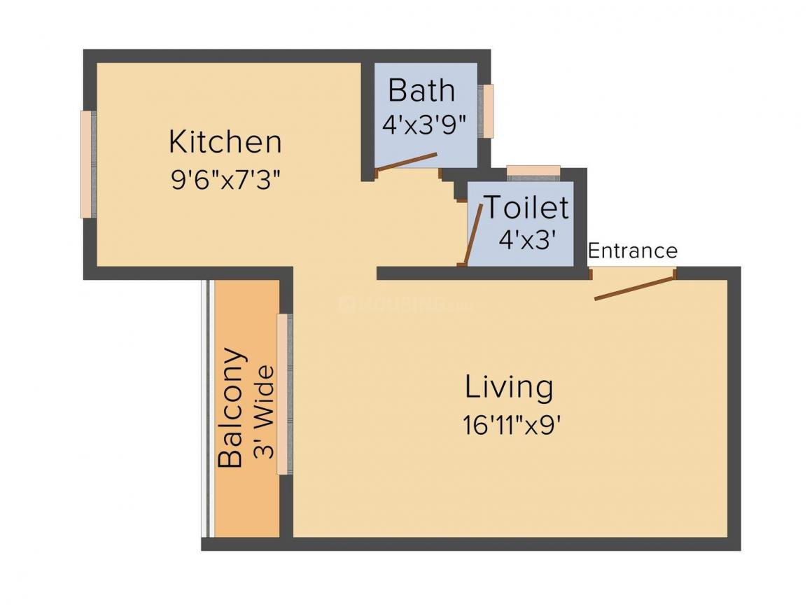 Floor Plan Image of 330 - 595 Sq.ft 1 RK Apartment for buy in Anand Gajanan Apartment