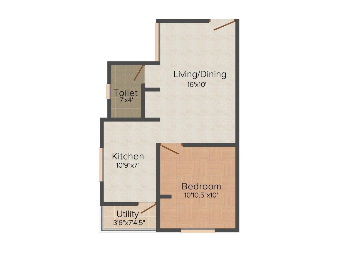 Ashvar Royal Floor Plan: 1 BHK Unit with Built up area of 580 sq.ft 1
