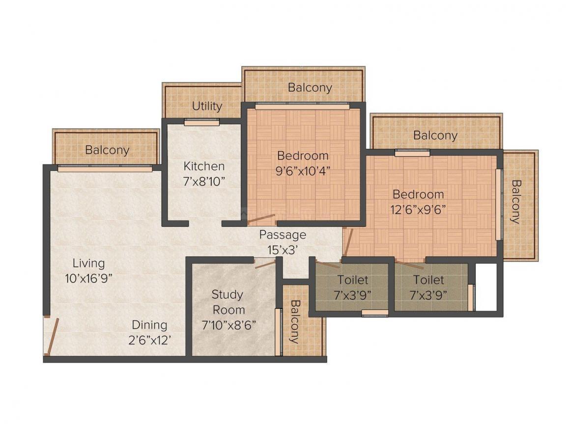 Floor Plan Image of 1125.0 - 1600.0 Sq.ft 2 BHK Apartment for buy in Neminath Luxeria