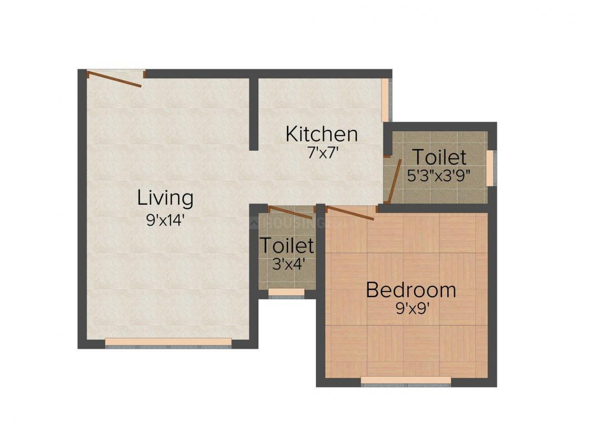 Floor Plan Image of 385.0 - 411.0 Sq.ft 1 BHK Apartment for buy in Aracely Western Park