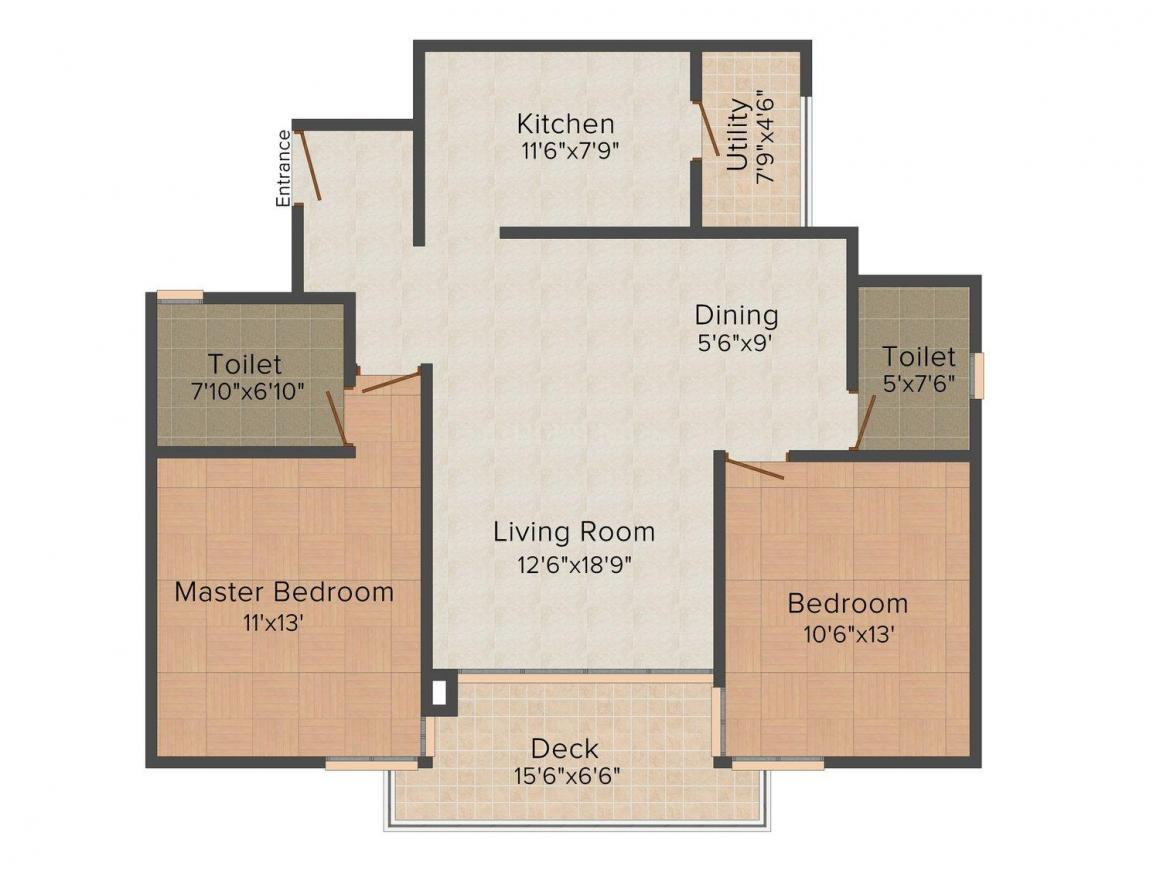 Shriram Southern Crest Floor Plan: 2 BHK Unit with Built up area of 1300 sq.ft 1