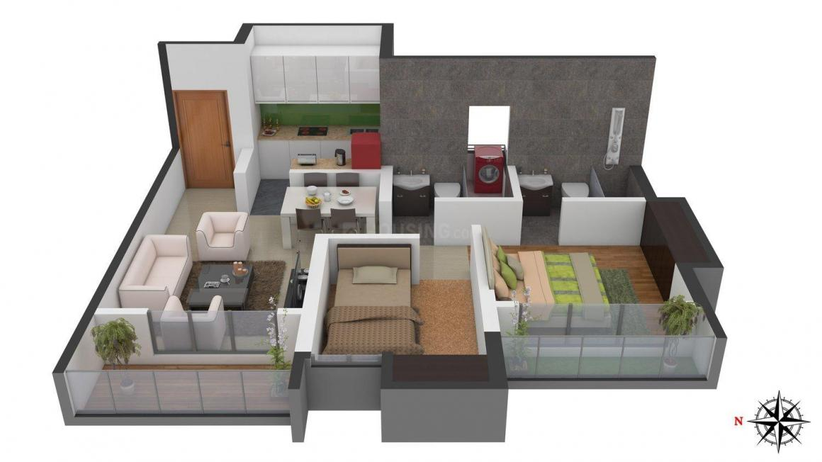 Floor Plan Image of 933.0 - 1564.0 Sq.ft 2 BHK Apartment for buy in Jagdale Amizra