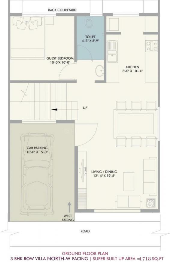 Vivansaa Amaryllies Boulevard Floor Plan: 3 BHK Unit with Built up area of 1718 sq.ft 1