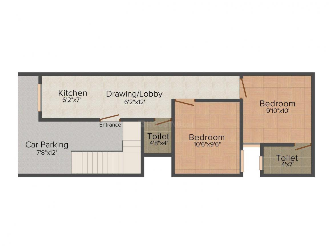 Geet/67 Sq Yard Floor Plan: 2 BHK Unit with Built up area of 603 sq.ft 1