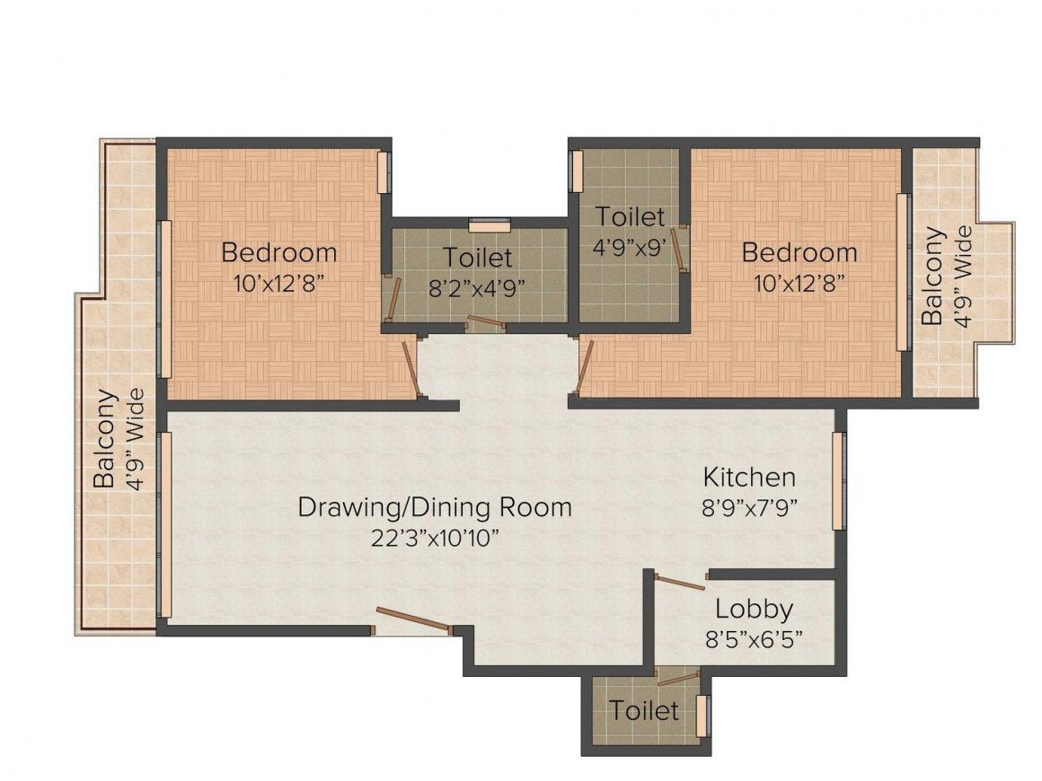Floor Plan Image of 1149.0 - 2298.0 Sq.ft 2 BHK Apartment for buy in Micasa Strand Park
