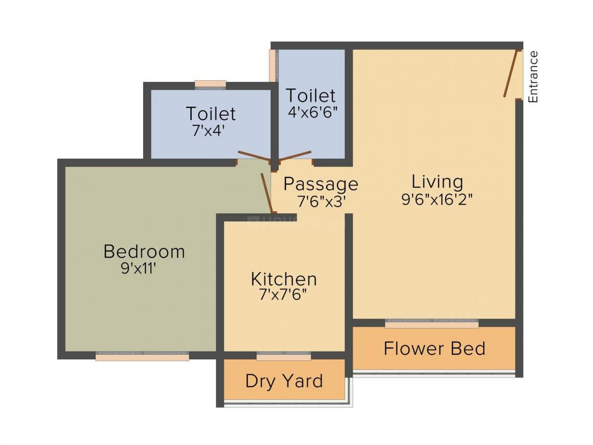 Ekta Parksville Phase III Floor Plan: 1 BHK Unit with Built up area of 630 sq.ft 1