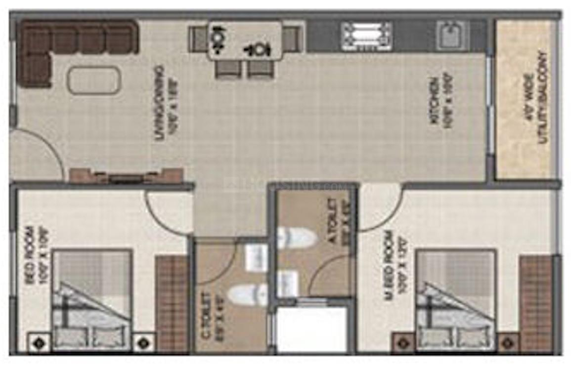 DS Max Sangam Grand Floor Plan: 2 BHK Unit with Built up area of 889 sq.ft 1