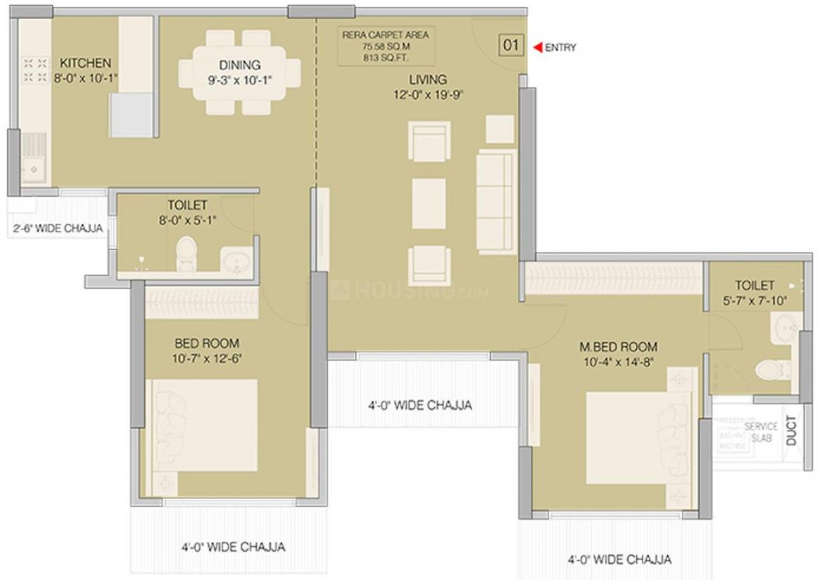 Ruparel Orion Floor Plan: 2 BHK Unit with Built up area of 814 sq.ft 2
