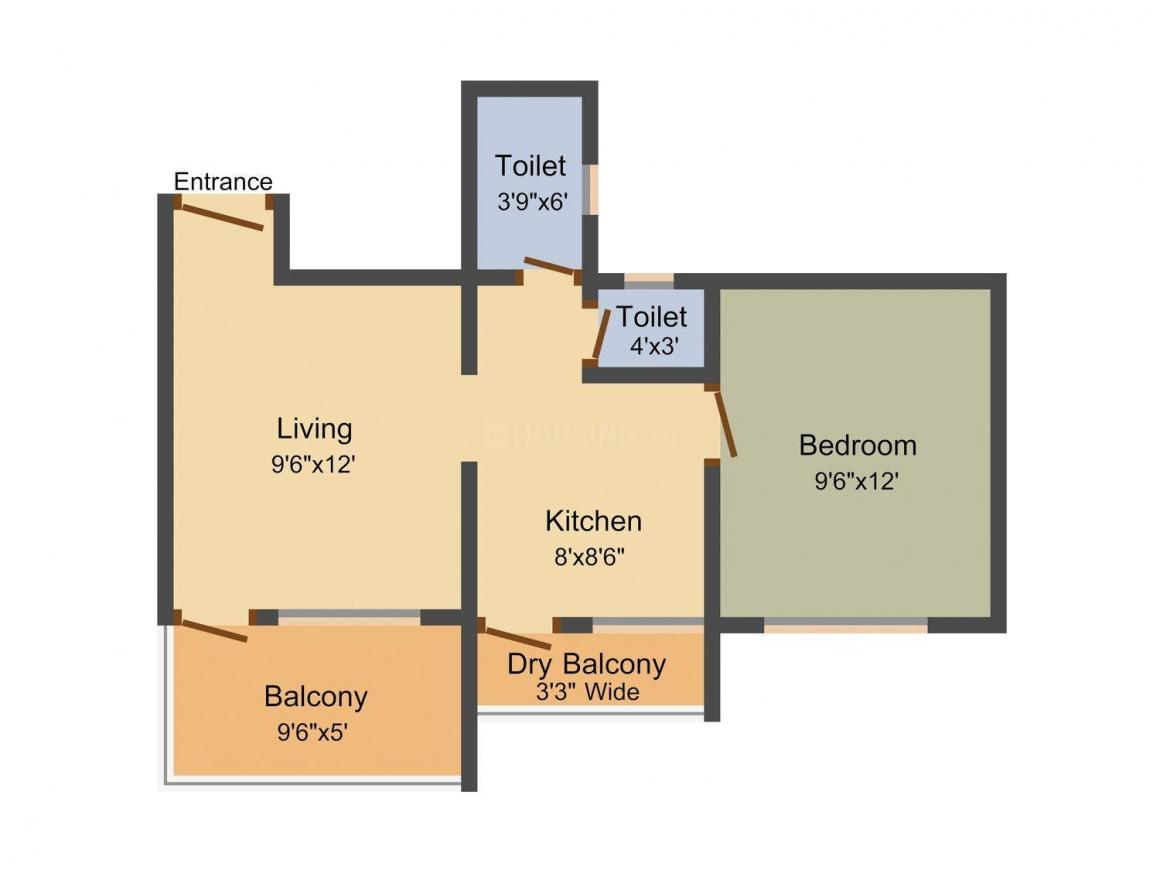 Sanjeet Mayuri Tarangan Floor Plan: 1 BHK Unit with Built up area of 565 sq.ft 1