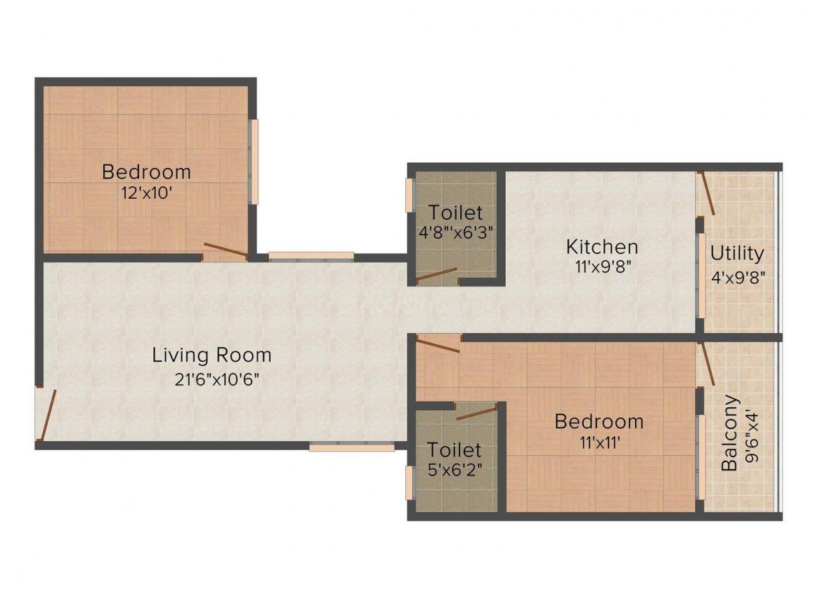 Floor Plan Image of 706.0 - 1301.0 Sq.ft 2 BHK Apartment for buy in Lumbodhara Orchid Eleganz