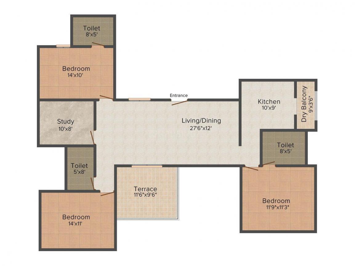 Amit Mahindrakar Symphonia Floor Plan: 3 BHK Unit with Built up area of 1850 sq.ft 1