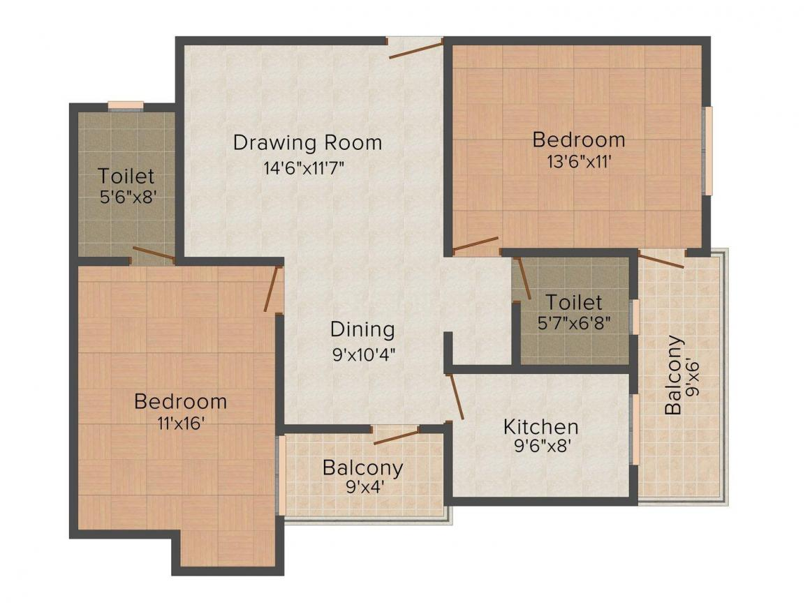 Floor Plan Image of 1092.0 - 2548.0 Sq.ft 2 BHK Apartment for buy in SDC Vintage