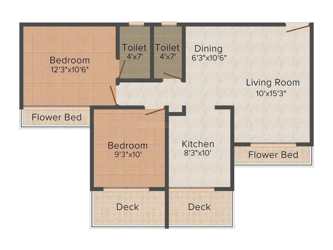 Floor Plan Image of 749.0 - 1050.0 Sq.ft 2 BHK Apartment for buy in Today Ganesham