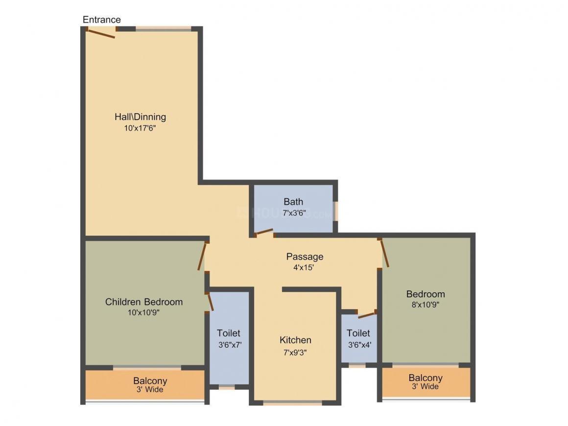 Floor Plan Image of 430 - 680 Sq.ft 1 BHK Apartment for buy in Shree Khatu Sarovar Darshan Mansarovar