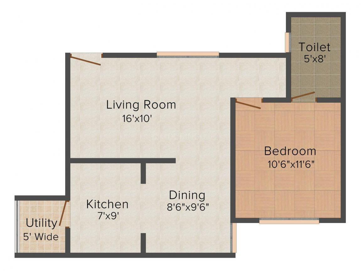 Floor Plan Image of 567.0 - 1332.0 Sq.ft 1 BHK Apartment for buy in Manasa Castle