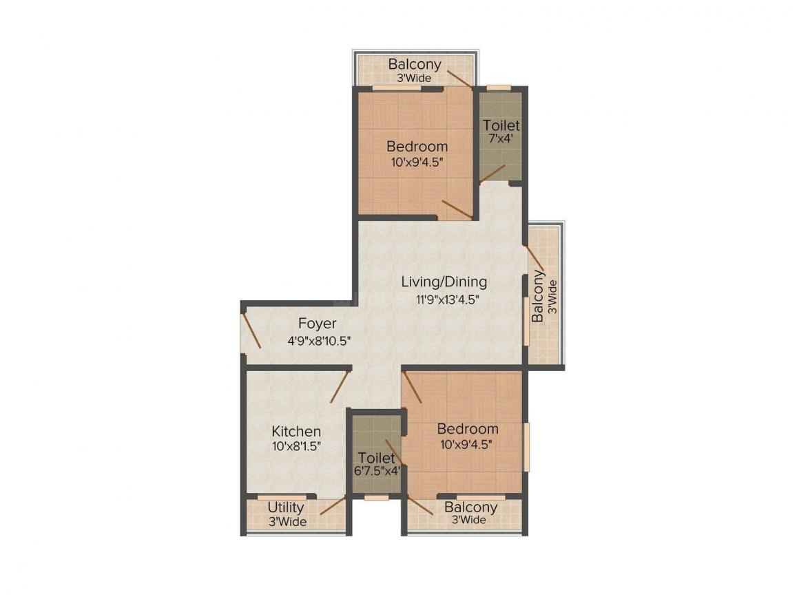 Floor Plan Image of 589 - 935 Sq.ft 1.5 BHK Apartment for buy in KSD North View