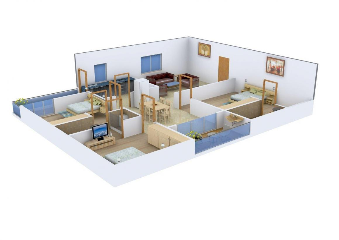 Floor Plan Image of 1450.0 - 1600.0 Sq.ft 3 BHK Apartment for buy in Jubilee Orchids