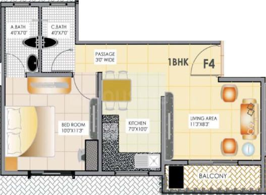Venus Apartment Floor Plan: 1 BHK Unit with Built up area of 670 sq.ft 1