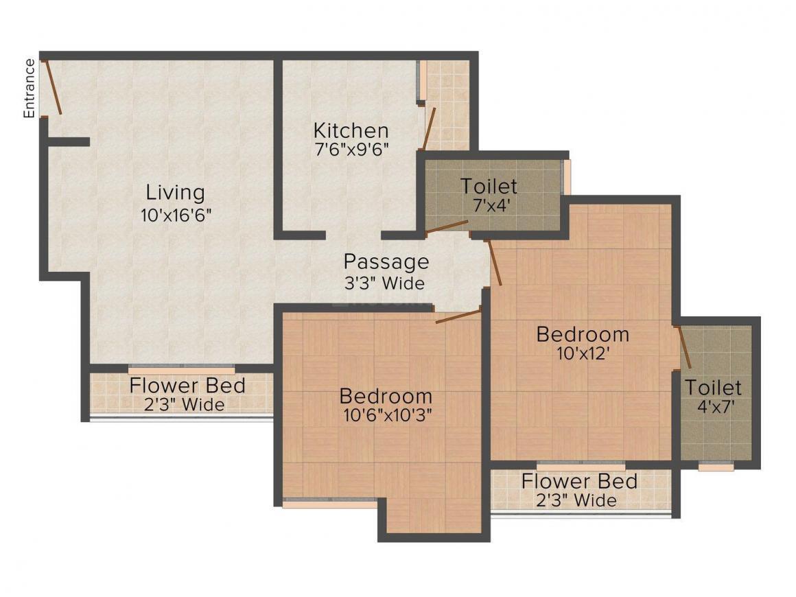 Floor Plan Image of 504.0 - 935.0 Sq.ft 1 BHK Apartment for buy in Uma Acropolis Neopolis