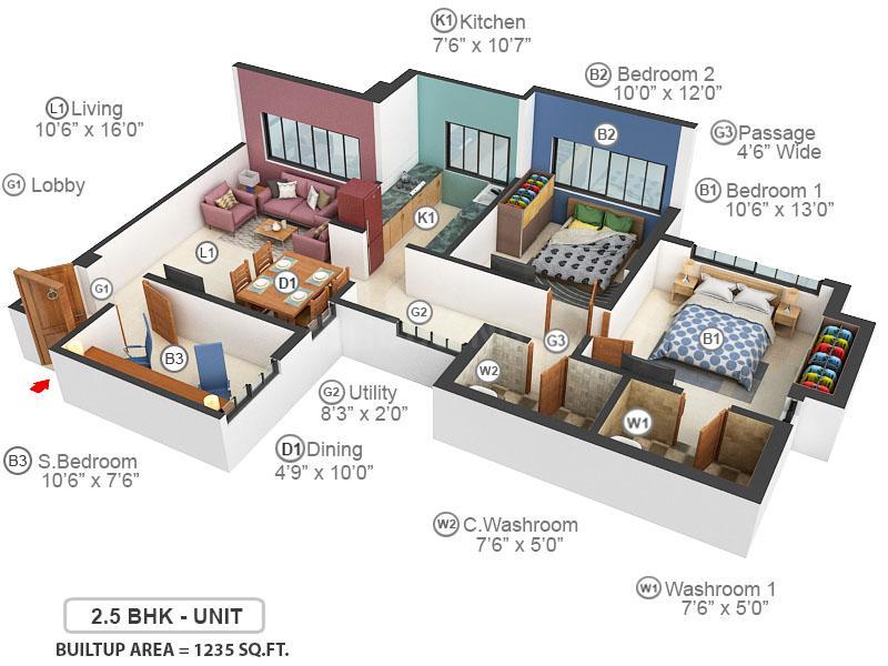 Kalpataru Srishti Floor Plan: 2 BHK Unit with Built up area of 1235 sq.ft 1