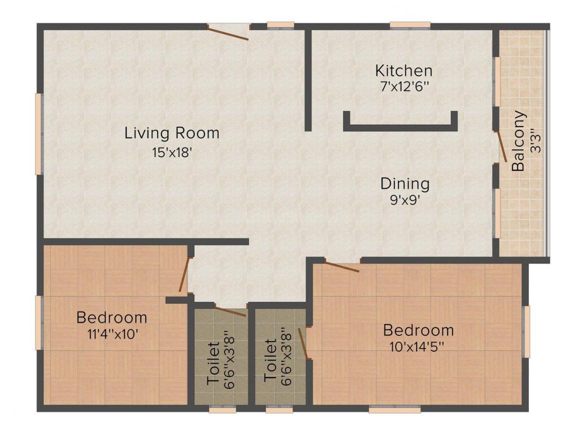 Floor Plan Image of 0 - 1150.0 Sq.ft 2 BHK Apartment for buy in Harivillu Sri Lakshmi Nilayam
