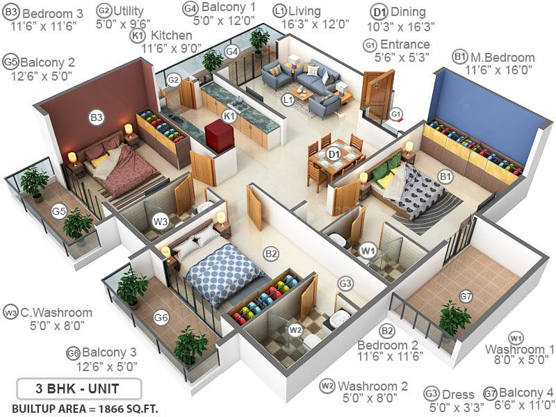 DSMAX SKYSCAPE Floor Plan: 3 BHK Unit with Built up area of 1866 sq.ft 1