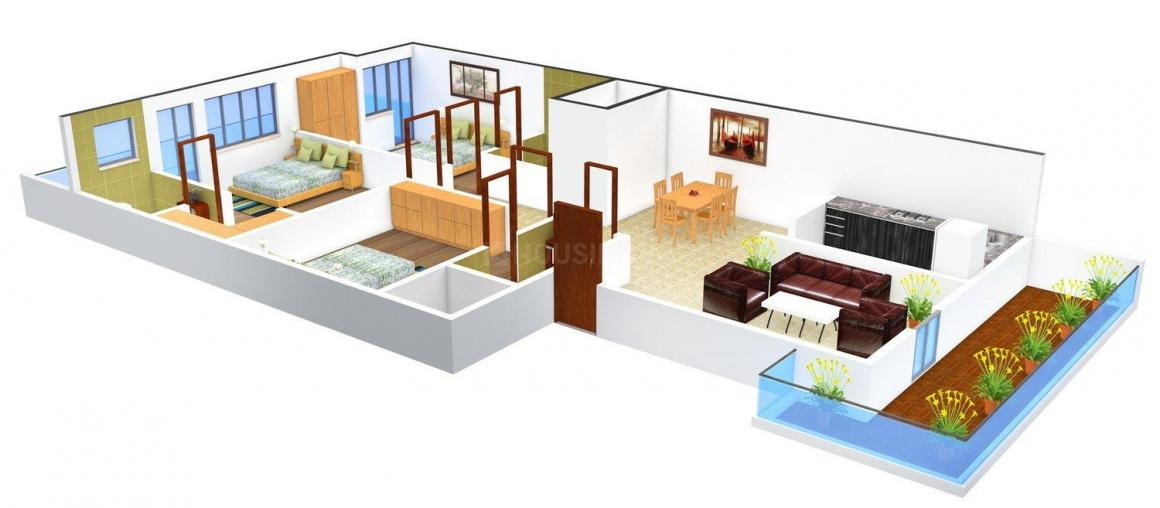 L. D. Floors - I Floor Plan: 3 BHK Unit with Built up area of 1468 sq.ft 1