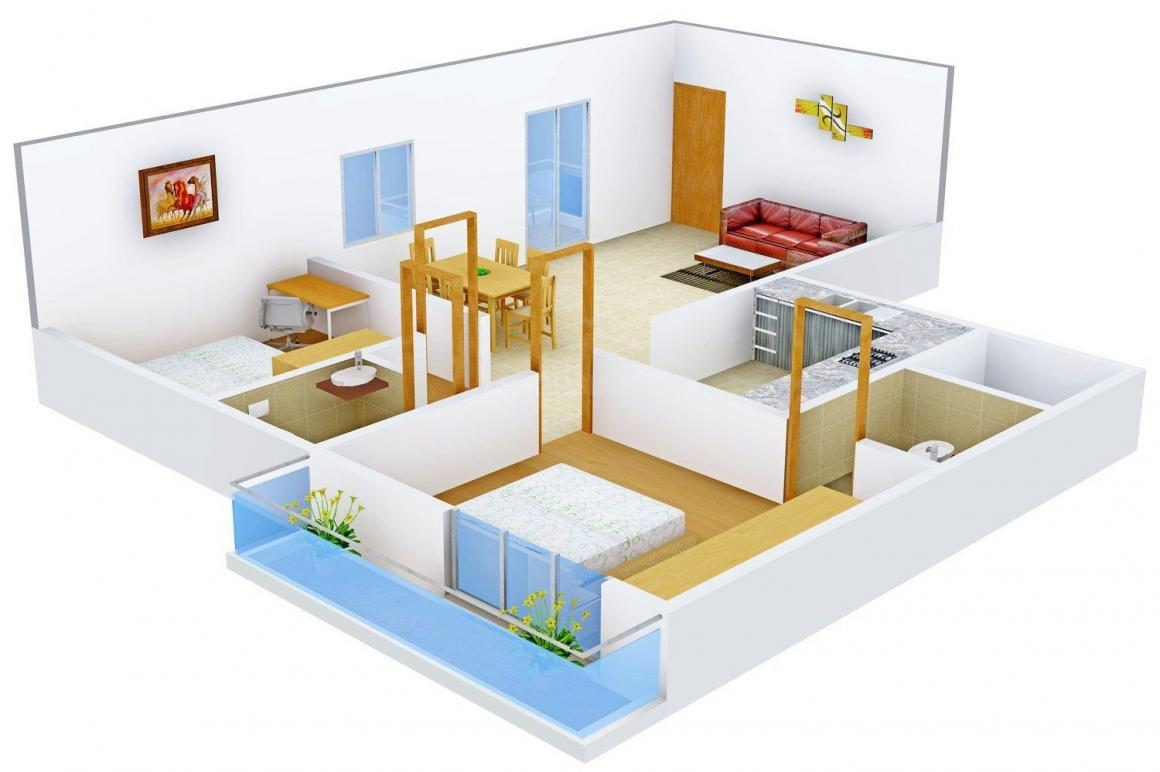 Akshaya Residency Floor Plan: 2 BHK Unit with Built up area of 1157 sq.ft 1