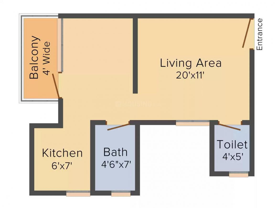 Delhi West Floor Plan: 1 BHK Unit with Built up area of 515 sq.ft 1