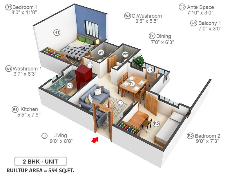 TVS Green Hills Floor Plan: 2 BHK Unit with Built up area of 594 sq.ft 1
