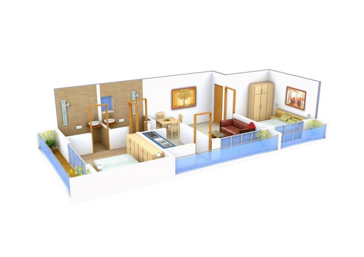 Floor Plan Image of 995.0 - 1015.0 Sq.ft 2 BHK Apartment for buy in Aditya Stone Villa