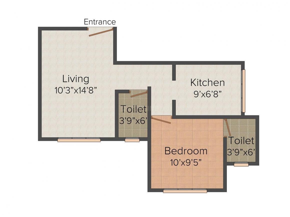 Floor Plan Image of 714 - 1085 Sq.ft 1 BHK Apartment for buy in Aaditya Samarth Signature