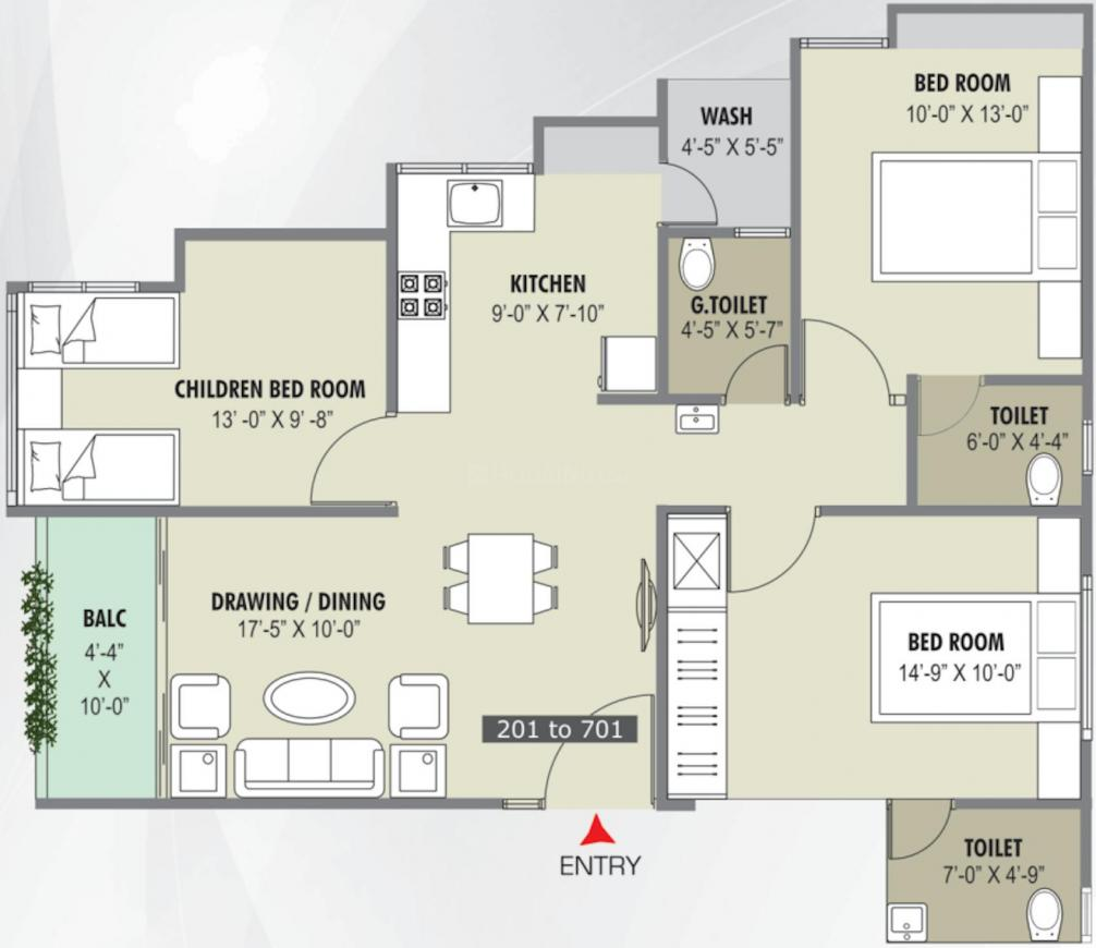 Shwetsom Stavam Residency Floor Plan: 3 BHK Unit with Built up area of 762 sq.ft 1