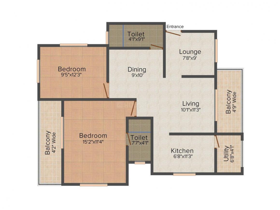 Floor Plan Image of 0 - 1399.0 Sq.ft 2 BHK Apartment for buy in Sinari Status