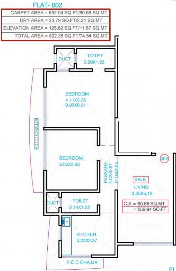 Zee Chhaya Floor Plan: 2 BHK Unit with Built up area of 653 sq.ft 1