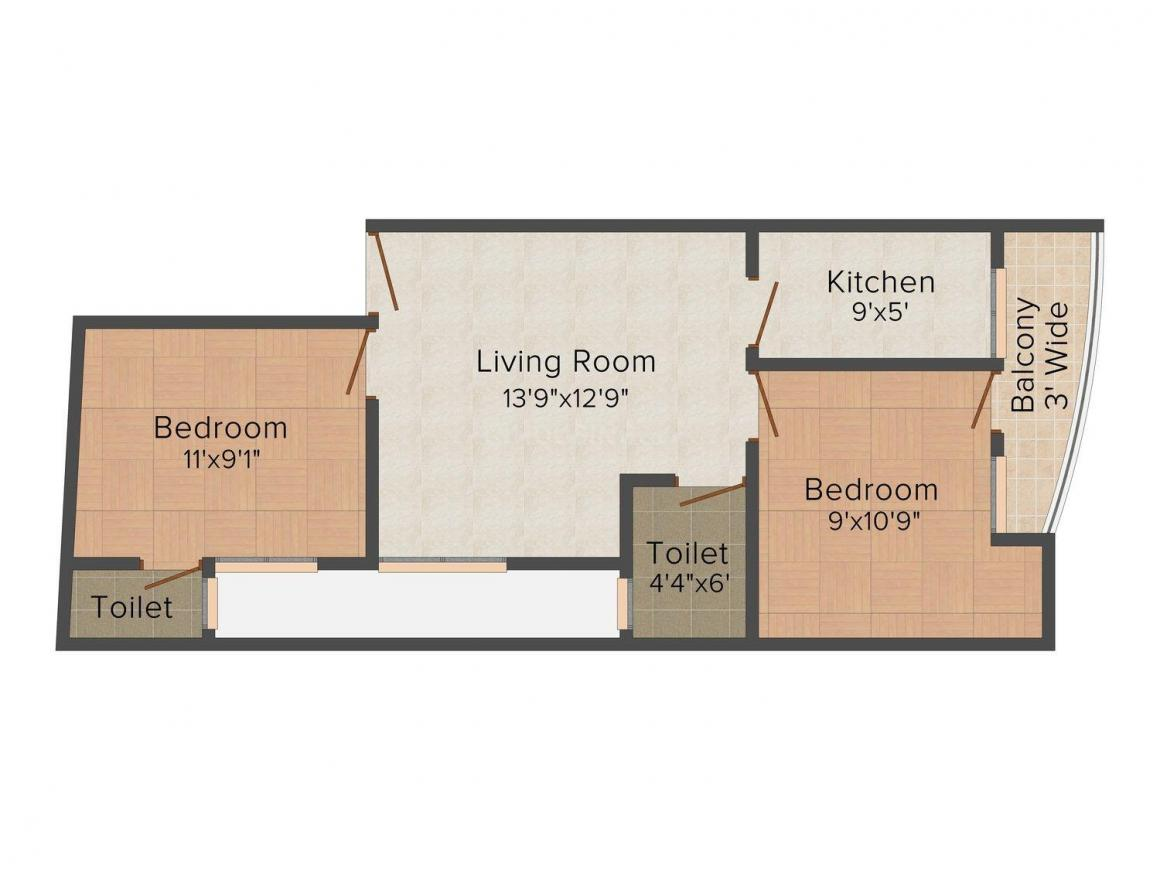 Shivom Apartment C - 48 & 49 Floor Plan: 2 BHK Unit with Built up area of 630 sq.ft 1