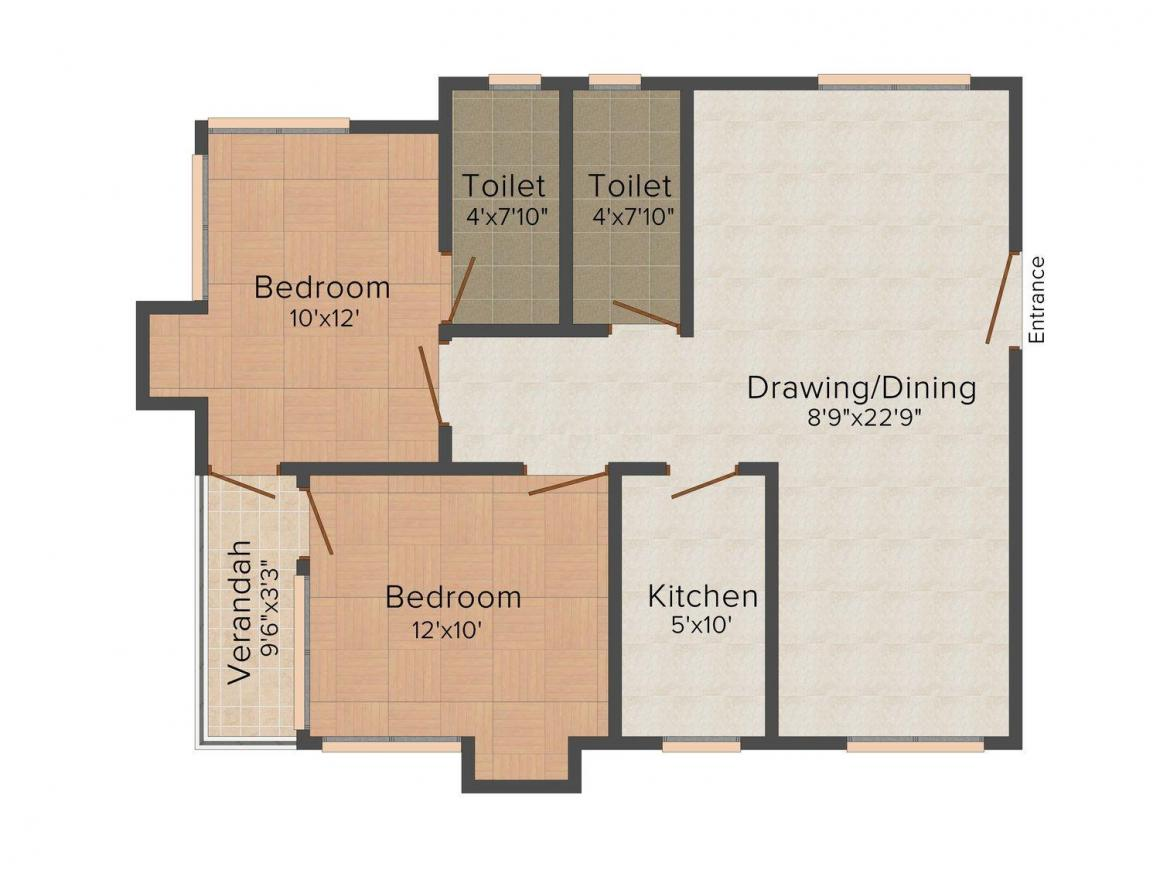 Floor Plan Image of 842.0 - 852.0 Sq.ft 2 BHK Apartment for buy in Ramala 264 Garfa Main Road