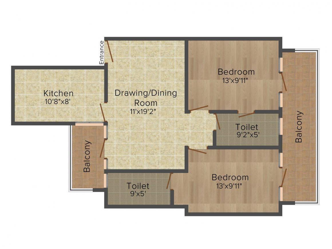 Floor Plan Image of 1059.0 - 1601.0 Sq.ft 2 BHK Apartment for buy in Vinayak Sonal Grand Sonal Apartments