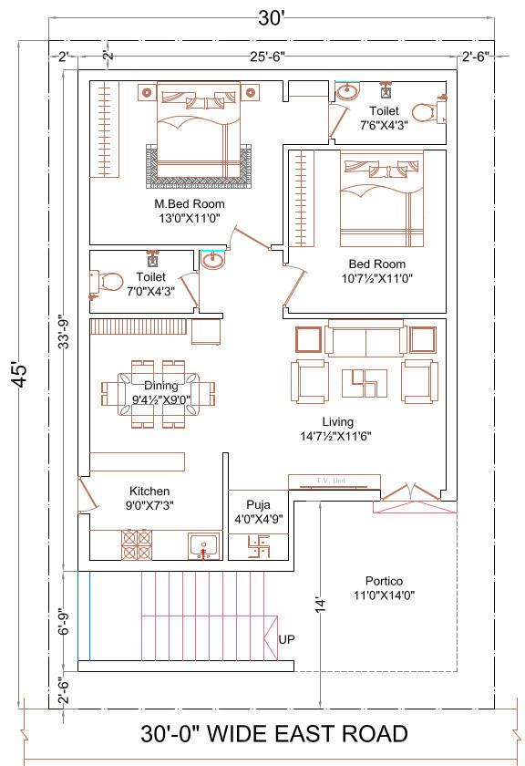 Chandra Highway Smart City Floor Plan: 2 BHK Unit with Built up area of 1030 sq.ft 1