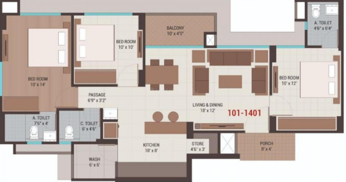 Shine Swasti Floor Plan: 3 BHK Unit with Built up area of 842 sq.ft 1