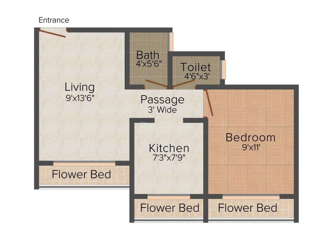 Floor Plan Image of 0 - 580.0 Sq.ft 1 BHK Apartment for buy in Pawan Dham