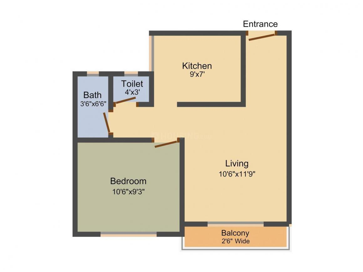Floor Plan Image of 305.0 - 695.0 Sq.ft 1 RK Apartment for buy in Mauli Sai Residency