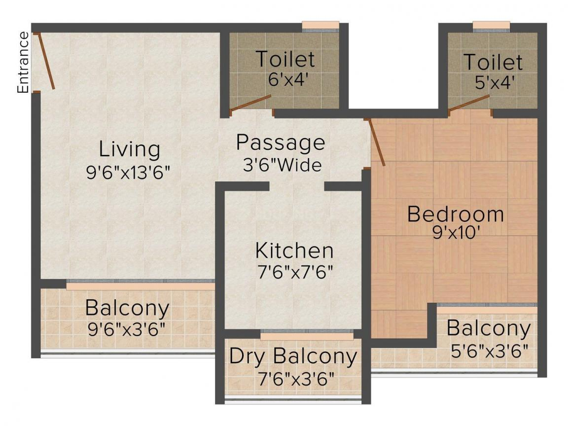 Floor Plan Image of 660.0 - 1002.0 Sq.ft 1 BHK Apartment for buy in Mithila Heights