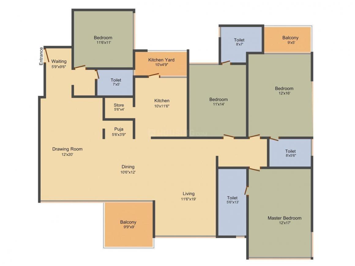 Floor Plan Image of 0 - 3537.0 Sq.ft 4 BHK Apartment for buy in Arpan Status