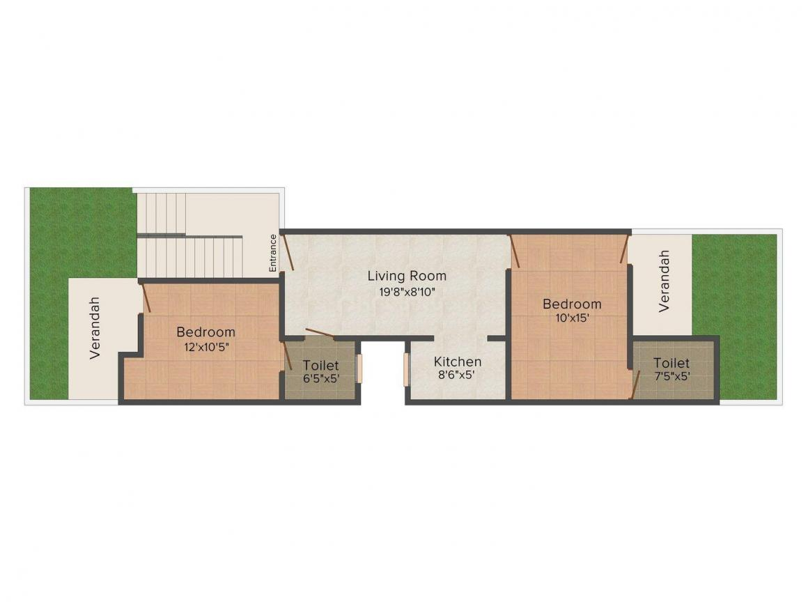 Floor Plan Image of 900 - 3200 Sq.ft 2 BHK Independent Floor for buy in Royal Floors
